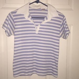 Blue and white striped collared shirt